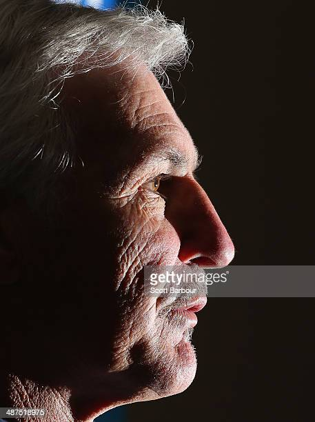 Mick Malthouse coach of the Blues speaks during a press conference before a Carlton Blues AFL training session at Visy Park on May 1 2014 in...