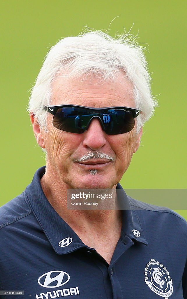 Mick Malthouse the coach of the Blues looks on during a Carlton Blues AFL media session at Ikon Park on April 27, 2015 in Melbourne, Australia.
