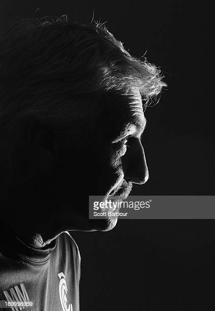 Mick Malthouse the coach of the Blues talks to the media during a Carlton Blues AFL press conference at Visy Park on June 6 2013 in Melbourne...