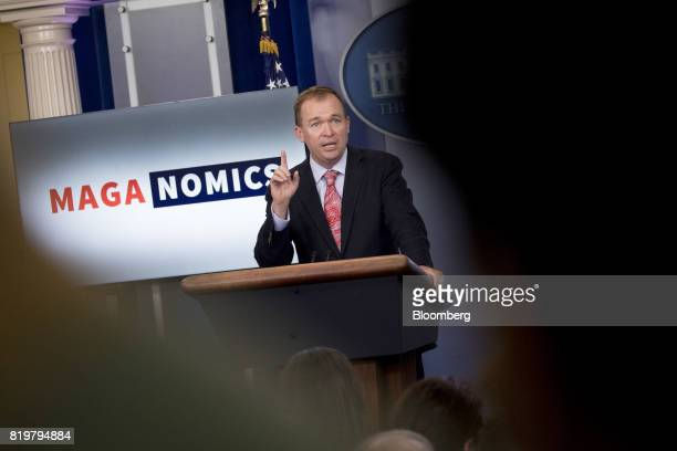 Mick Mulvaney director of the Office of Management and Budget speaks during a White House press briefing in Washington DC US on Thursday July 20 2017...