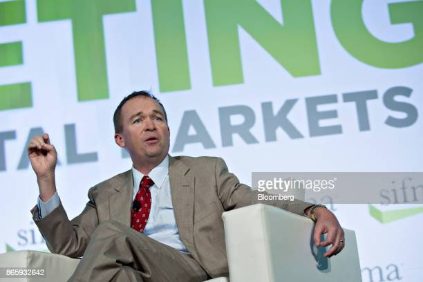 Mick Mulvaney director of the Office of Management and Budget speaks during an interview at the Securities Industry And Financial Markets Association...