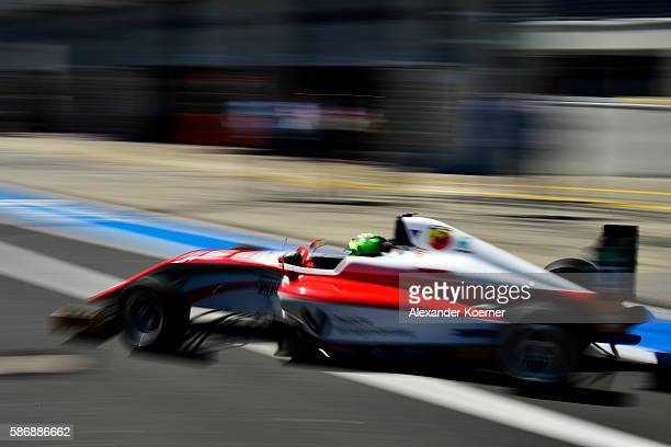 Mick Schumacher 17 yearold and son of former Formula 1 driver Michael Schumacher takes off from the pit lane for the third race in the Formula 4 ADAC...