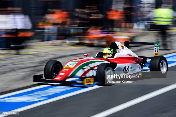 Mick Schumacher 17 yearold and son of former Formula 1 driver Michael Schumacher arrives for the pit lane prior the third race in the Formula 4 ADAC...