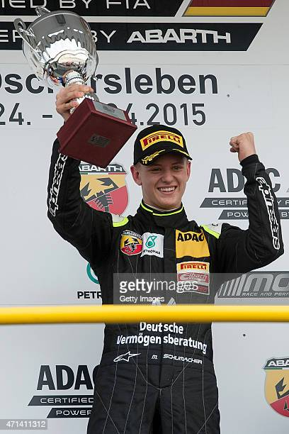 Mick Schumacher celebrates after winning race three of the ADAC Formula Four championship at Motorsport Arena Oschersleben on April 25 2015 in...