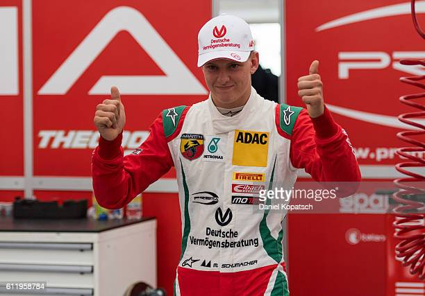 Mick Schumacher celebrates after winning the third race during ADAC Formula 4 at Hockenheimring on October 2 2016 in Hockenheim Germany