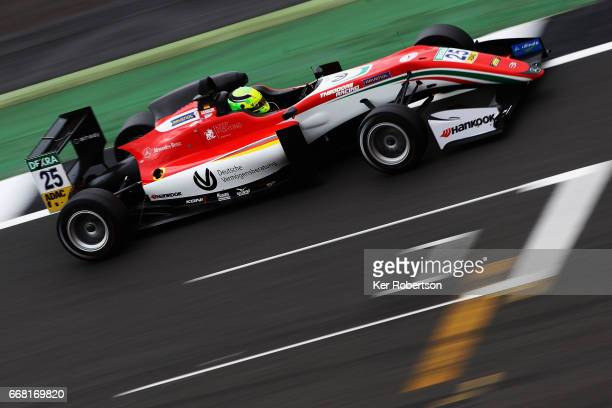 Mick Schumacher of Germany and Prema Powerteam drives during qualifying for the European Formula 3 Series at Silverstone on April 13 2017 in...