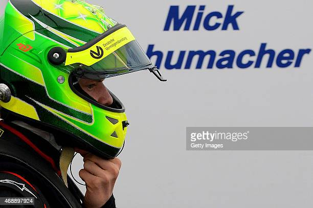 Mick Schumacher of Germany looks on during the ADAC GT Masters 2015 Test Days at Motorsport Arena Oschersleben on April 8 2015 in Oschersleben Germany