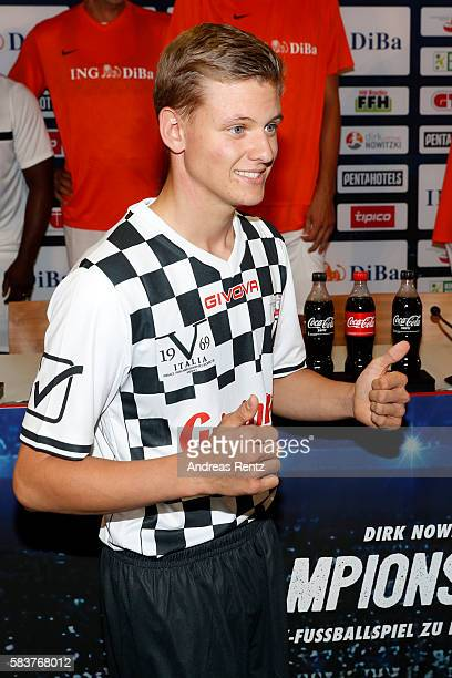 Mick Schumacher son of Michael Schumacher gestures ahead the 'Champions for charity' football match between Nowitzki All Stars and Nazionale Piloti...