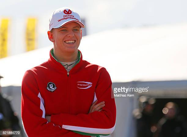 Mick Schumacher son of the former F1 champion Michael Schumacher looks on during the third day of the ADAC Formula Four championship at Motorsport...