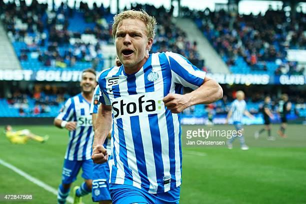 Mick van Buren of Esbjerg FB celebrate after his 32 goal during the Danish Alka Superliga match between Esbjerg FB and Silkeborg IF at Blue Water...
