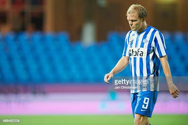 Mick van Buren of Esbjerg fB looks dejected after the Danish Alka Superliga match between Esbjerg fB and Randers FC at Blue Water Arena on September...