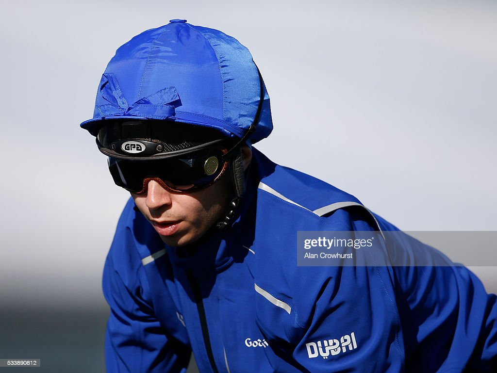 Mickael Barzalona poses during the 'Breakfast with the Stars' morning at Epsom Racecourse on May 24, 2016 in Epsom, England.