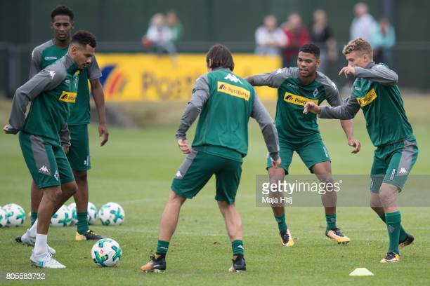 Mickael Cuisance Denis Zakaria Nico Schulz Timothee Kolodziejczak and Reece Oxford of Monchengladbach are seen during Training Session on July 2 2017...