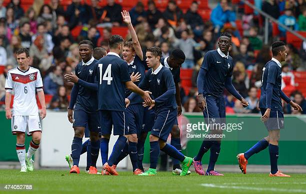 Mickael Cuisance of France celebrates his team's second goal with team mates during the International Friendly match between U16 Germany and U16...