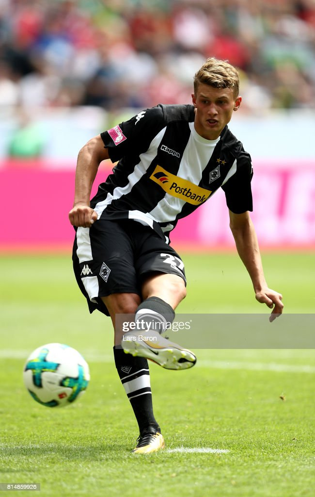 Mickael Cuisance of Moenchengladbach shoots on goal during the Telekom Cup 2017 match between Borussia Moenchengladbach and Werder Bremen at on July 15, 2017 in Moenchengladbach, Germany.
