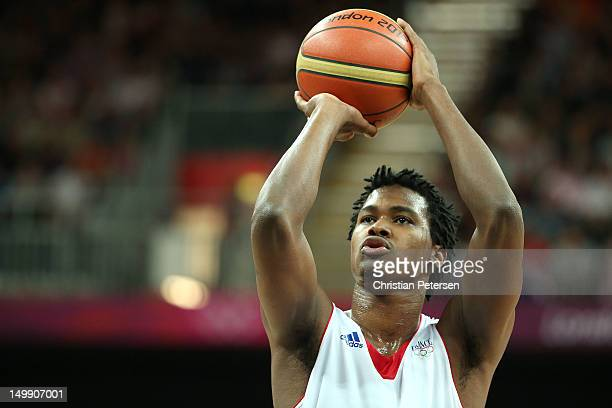 Mickael Gelabale of France attempts a free throw against Nigeria during the Men's Basketball Preliminary Round match on Day 10 of the London 2012...
