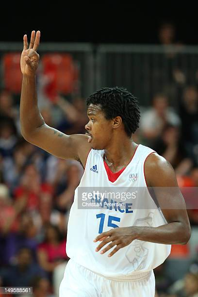 Mickael Gelabale of France celebrates a three pointer in the Men's Basketball Preliminary Round match between France and Argentina on Day 4 of the...