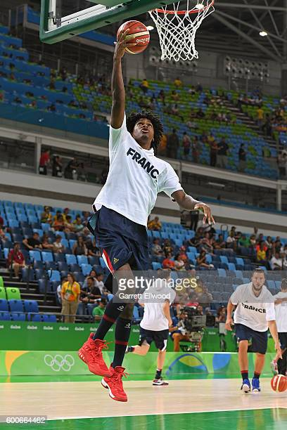 Mickael Gelabale of France warms up before the game against Australia on Day 1 of the Rio 2016 Olympic Games at Carioca Arena 1 on August 6 2016 in...
