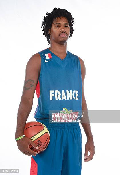 Mickael Gelabale of the French Men's National basketball team poses for a portrait during the team's annual studio shoot at INSEP on July 22 2013 in...