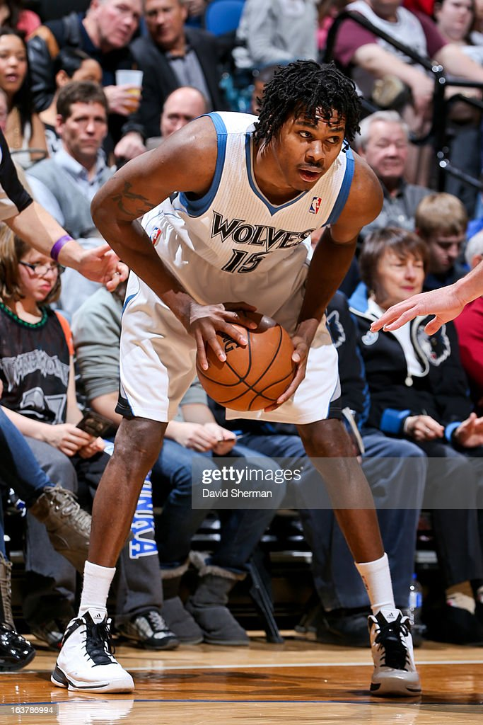 Mickael Gelabale #15 of the Minnesota Timberwolves controls the ball against the San Antonio Spurs on March 12, 2013 at Target Center in Minneapolis, Minnesota.