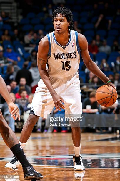 Mickael Gelabale of the Minnesota Timberwolves controls the ball against the Utah Jazz on April 15 2013 at Target Center in Minneapolis Minnesota...
