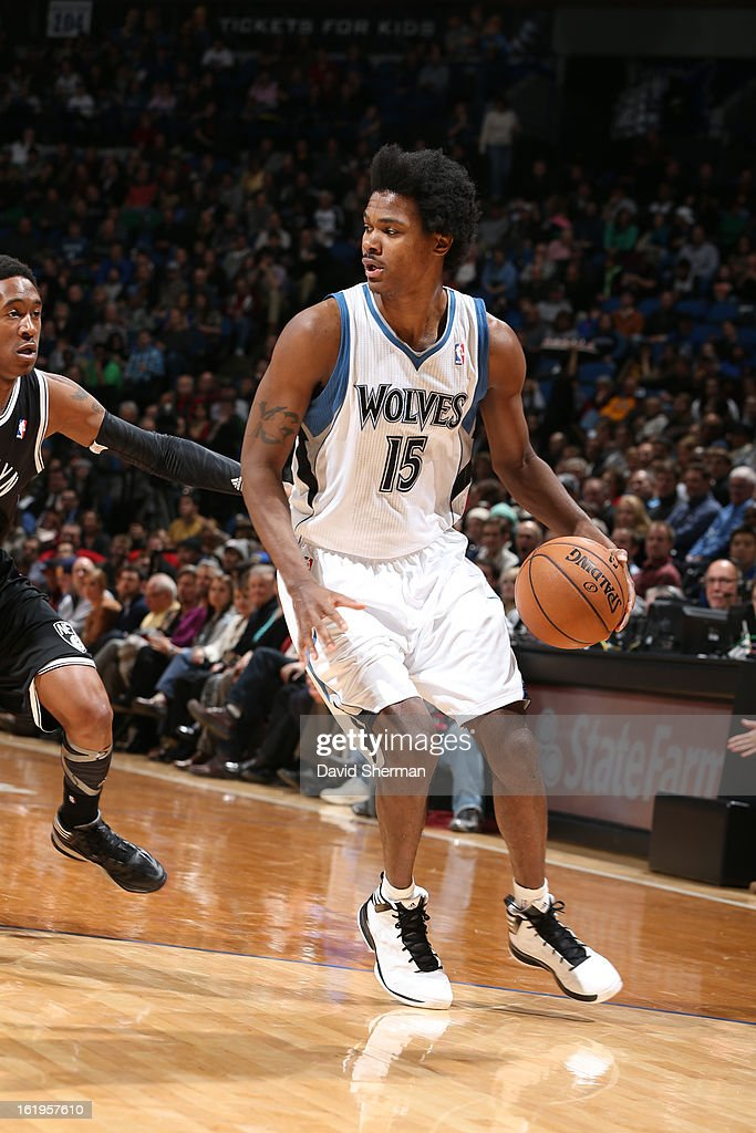 Mickael Gelabale #15 of the Minnesota Timberwolves drives to the basket against the Brooklyn Nets on January 23, 2013 at Target Center in Minneapolis, Minnesota.