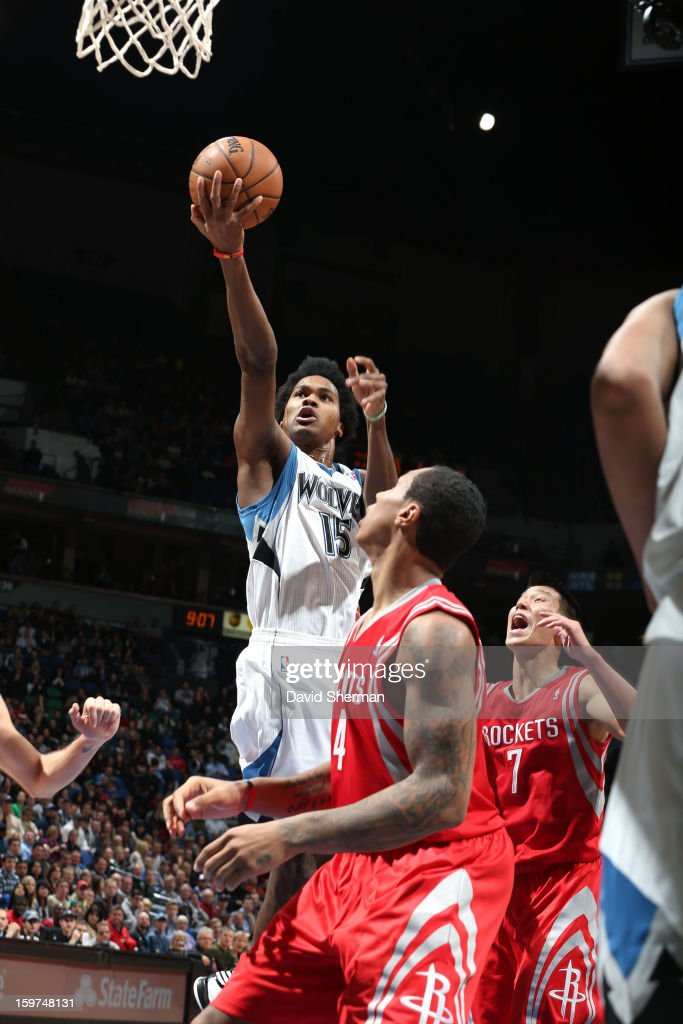 Mickael Gelabale #15 of the Minnesota Timberwolves finger rolls it in against the Houston Rockets during the game on January 19, 2013 at Target Center in Minneapolis, Minnesota.