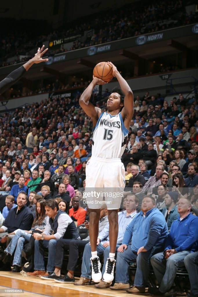 Mickael Gelabale #15 of the Minnesota Timberwolves goes for a jump shot during the game between the Minnesota Timberwolves and the Brooklyn Nets on January 23, 2013 at Target Center in Minneapolis, Minnesota.