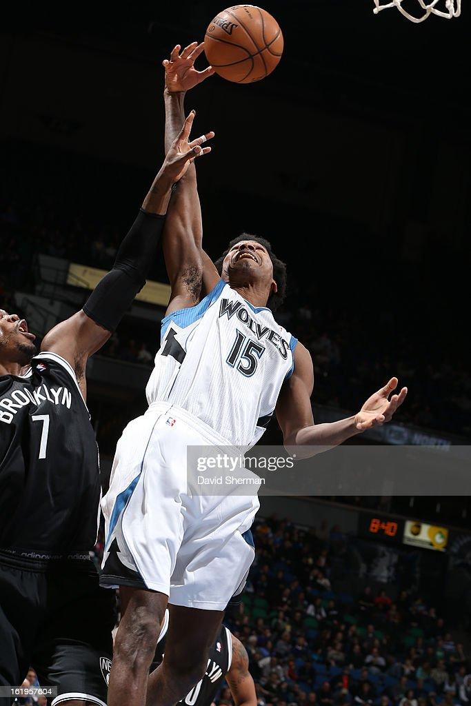 Mickael Gelabale #15 of the Minnesota Timberwolves grabs a rebound against the Brooklyn Nets on January 23, 2013 at Target Center in Minneapolis, Minnesota.