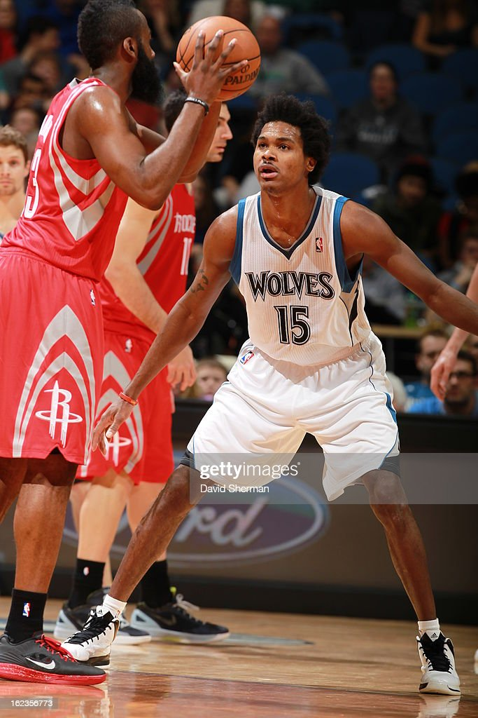 Mickael Gelabale #15 of the Minnesota Timberwolves plays defense against James Harden #13 of the Houston Rockets on January 19, 2013 at Target Center in Minneapolis, Minnesota.