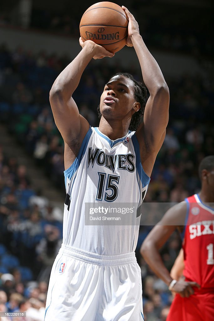 Mickael Gelabale #15 of the Minnesota Timberwolves shoots a free throw during the game between Philadelphia 76ers and the Minnesota Timberwolves on February 20, 2013 at Target Center in Minneapolis, Minnesota.