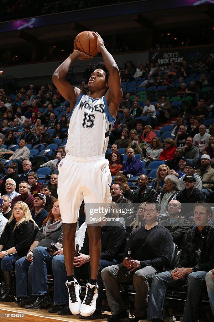 Mickael Gelabale #15 of the Minnesota Timberwolves shoots a three pointer against the Utah Jazz on February 13, 2013 at Target Center in Minneapolis, Minnesota.