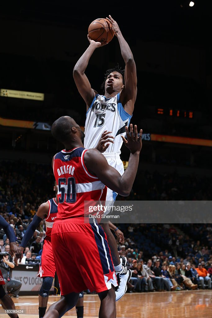 Mickael Gelabale #15 of the Minnesota Timberwolves shoots against Emeka Okafor #50 of the Washington Wizards on March 6, 2013 at Target Center in Minneapolis, Minnesota.