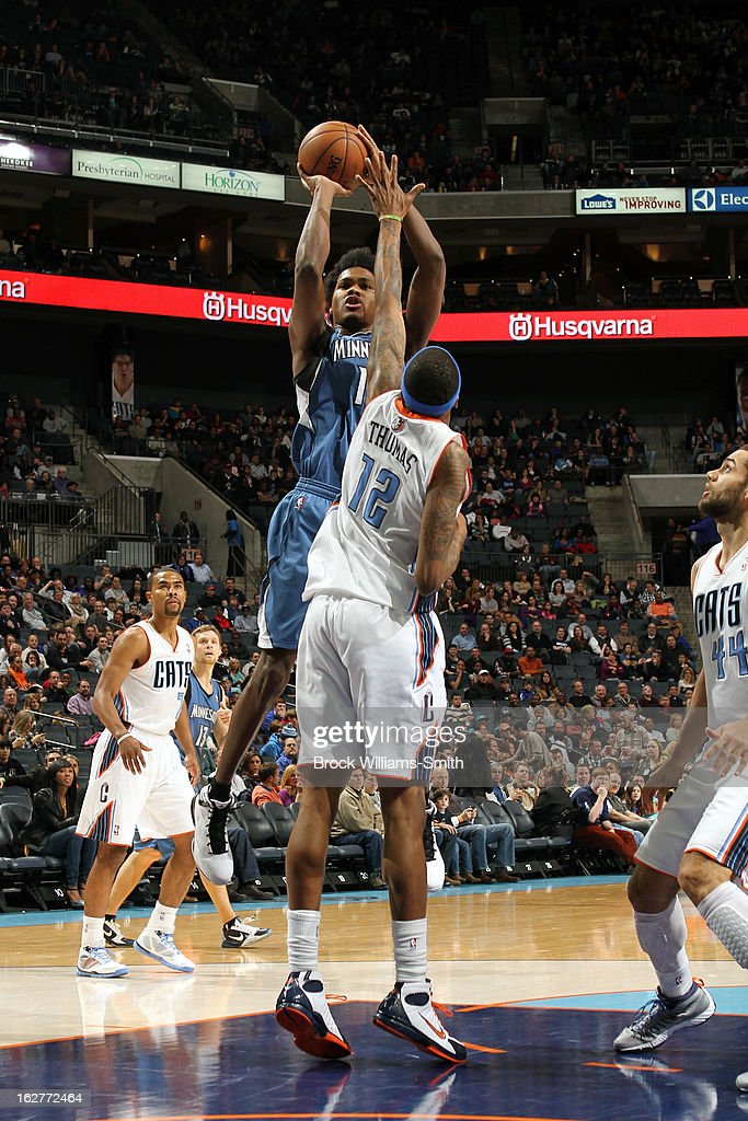Mickael Gelabale #15 of the Minnesota Timberwolves takes a shot against the Charlotte Bobcats at the Time Warner Cable Arena on January 26, 2013 in Charlotte, North Carolina.