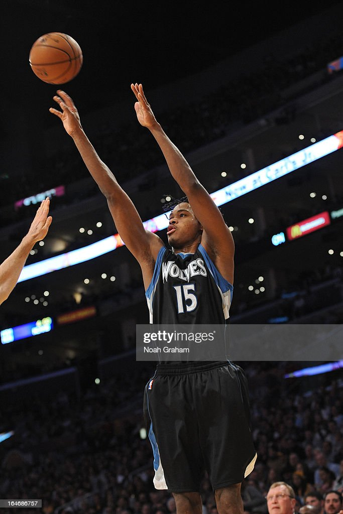 Mickael Gelabale #15 of the Minnesota Timberwolves takes a shot against the Los Angeles Lakers at Staples Center on February 28, 2013 in Los Angeles, California.