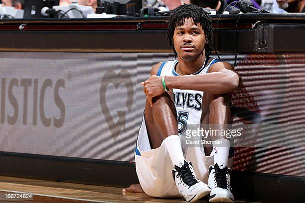 Mickael Gelabale of the Minnesota Timberwolves waits to check into a game against the Utah Jazz on April 15 2013 at Target Center in Minneapolis...