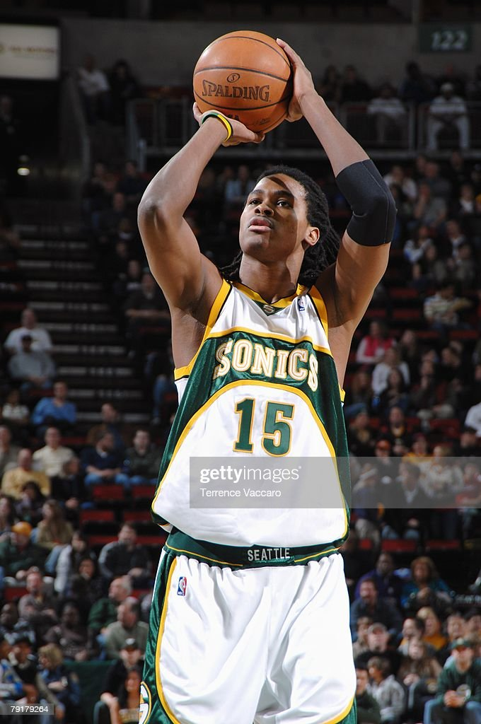 Mickael Gelabale #15 of the Seattle SuperSonics shoots a free throw during the game against the Minnesota Timberwolves at Key Arena on December 29, 2007 in Seattle, Washington. The Sonics won 109-90.