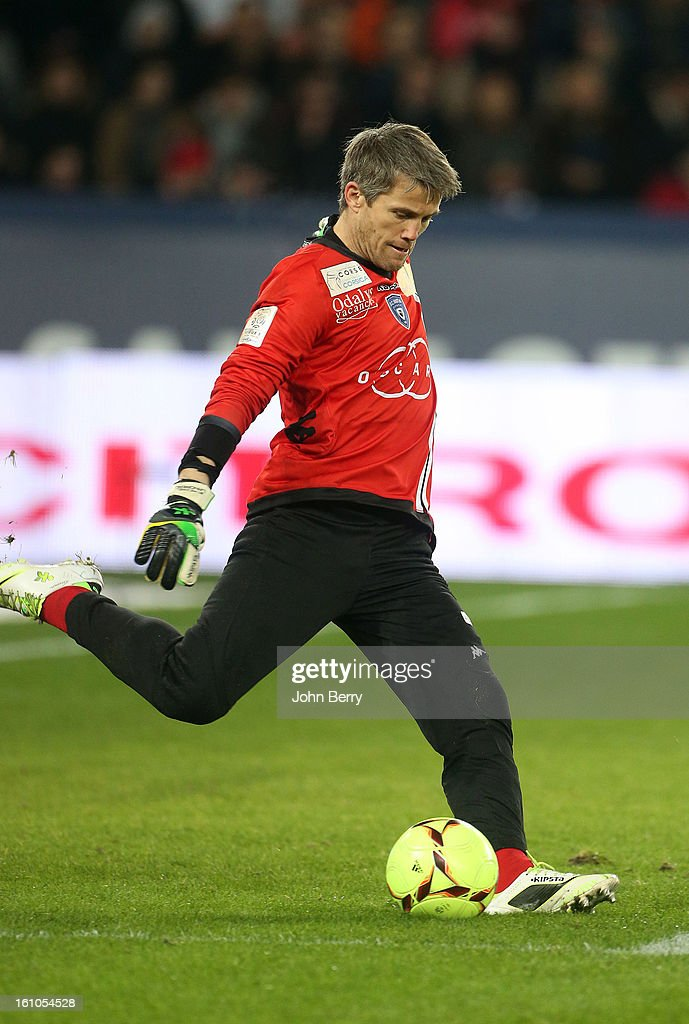 <a gi-track='captionPersonalityLinkClicked' href=/galleries/search?phrase=Mickael+Landreau&family=editorial&specificpeople=490956 ng-click='$event.stopPropagation()'>Mickael Landreau</a>, goalkeeper of SC Bastia in action during the French Ligue 1 match between Paris Saint Germain FC and Sporting Club de Bastia at the Parc des Princes stadium on February 8, 2013 in Paris, France.