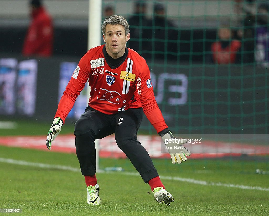 Mickael Landreau, goalkeeper of SC Bastia in action during the French Ligue 1 match between Paris Saint Germain FC and Sporting Club de Bastia at the Parc des Princes stadium on February 8, 2013 in Paris, France.