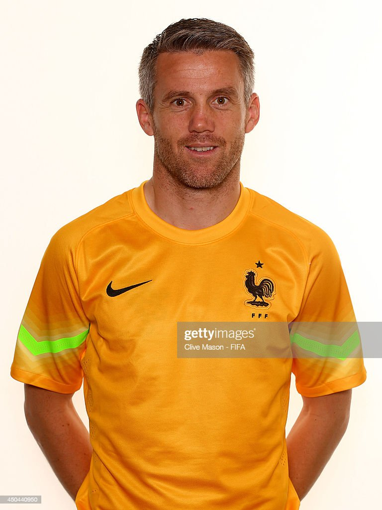 <a gi-track='captionPersonalityLinkClicked' href=/galleries/search?phrase=Mickael+Landreau&family=editorial&specificpeople=490956 ng-click='$event.stopPropagation()'>Mickael Landreau</a> of France poses during the official FIFA World Cup 2014 portrait session on June 10, 2014 in Sao Paulo, Brazil.