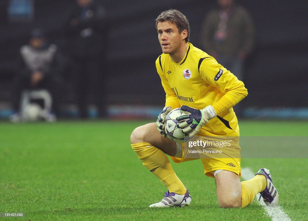 <a gi-track='captionPersonalityLinkClicked' href=/galleries/search?phrase=Mickael+Landreau&family=editorial&specificpeople=490956 ng-click='$event.stopPropagation()'>Mickael Landreau</a> of LOSC Lille Metropole in action during the UEFA Champions League, group B match between FC Internazionale Milano and LOSC Lille Metropole at Giuseppe Meazza Stadium on November 2, 2011 in Milan, Italy.