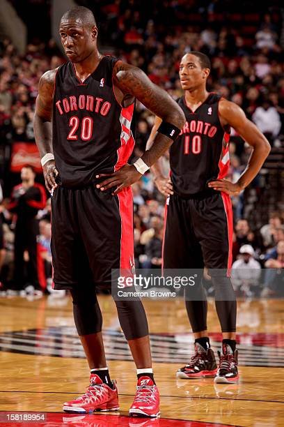 Mickael Pietrus and DeMar DeRozan of the Toronto Raptors wait to resume action against the Portland Trail Blazers on December 10 2012 at the Rose...