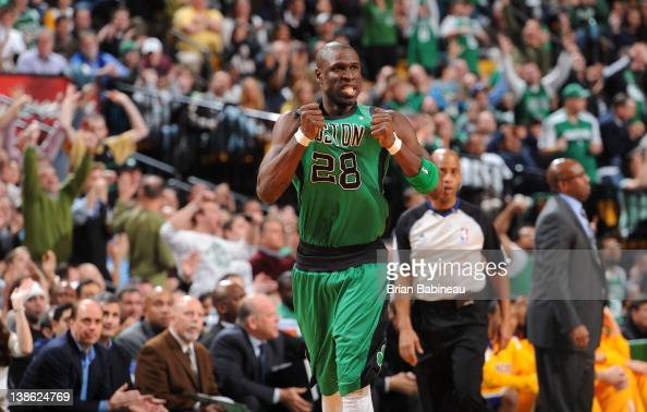 Mickael Pietrus of the Boston Celtics celebrates a play in the fourth quarter against the Los Angeles Lakers on February 9 2012 at the TD Garden in...