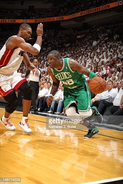 Mickael Pietrus of the Boston Celtics drives against Chris Bosh of the Miami Heat in Game Five of the Eastern Conference Finals between the Boston...