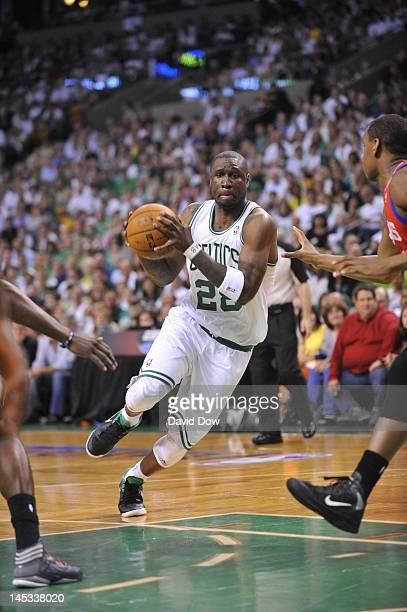 Mickael Pietrus of the Boston Celtics drives during Game Seven of the Eastern Conference Semifinals between the Philadelphia 76ers and the Boston...