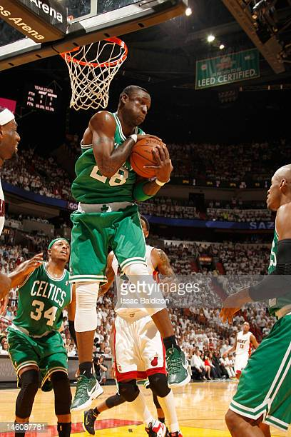 Mickael Pietrus of the Boston Celtics goes to the basket in Game Seven of the Eastern Conference Finals between the Miami Heat and the Boston Celtics...