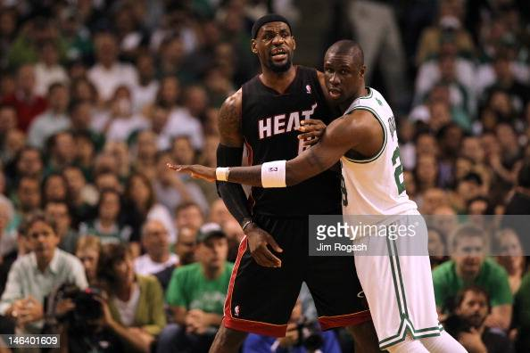 Mickael Pietrus of the Boston Celtics matches up against LeBron James of the Miami Heat in Game Three of the Eastern Conference Finals in the 2012...