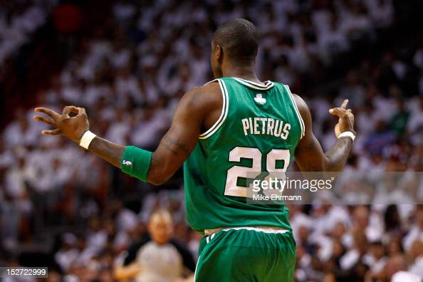 Mickael Pietrus of the Boston Celtics reacts after he made a 3point basket against the Miami Heat in Game Five of the Eastern Conference Finals in...