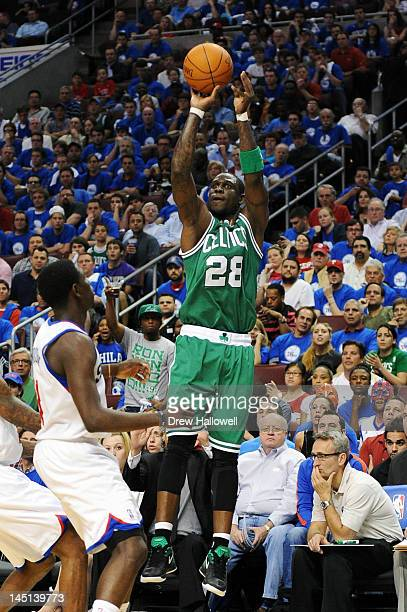 Mickael Pietrus of the Boston Celtics shoots and makes a three point shot to end the first half against the Philadelphia 76ers in Game Six of the...