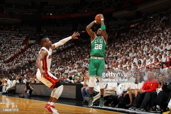 Mickael Pietrus of the Boston Celtics shoots the ball against Dwyane Wade of the Miami Heat in Game Seven of the Eastern Conference Finals between...